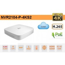 NVR IP 4K ULTRA-HD 4 Canali 8MP 1HDD PoE P2P - Dahua - NVR2104-P-4KS2